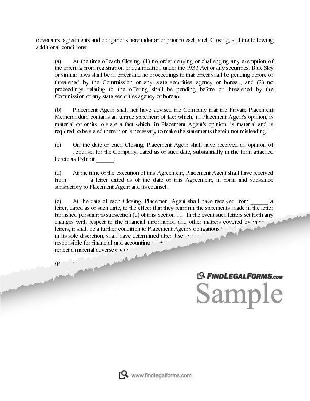 Comprehensive Placement Agent Agreement Sample