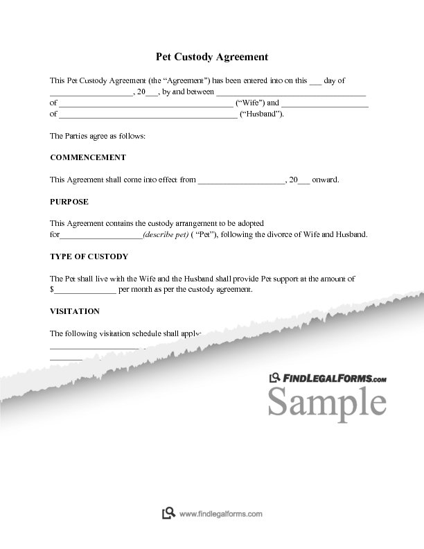 Pet Custody Agreement Sample