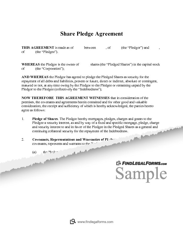 Share Pledge Agreement Sample
