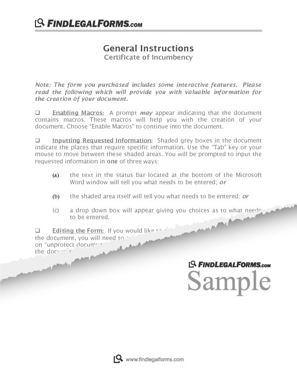 Florida Certificate Of Incumbency Sample