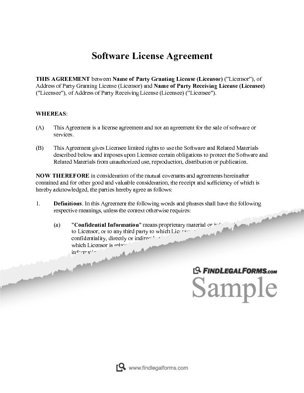 New York Software License Agreement Perpetual Sample