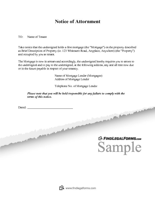 Notice of Attornment Sample