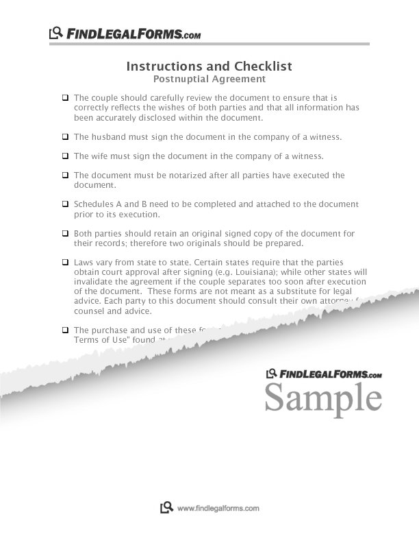Maryland Postnuptial Agreement Sample