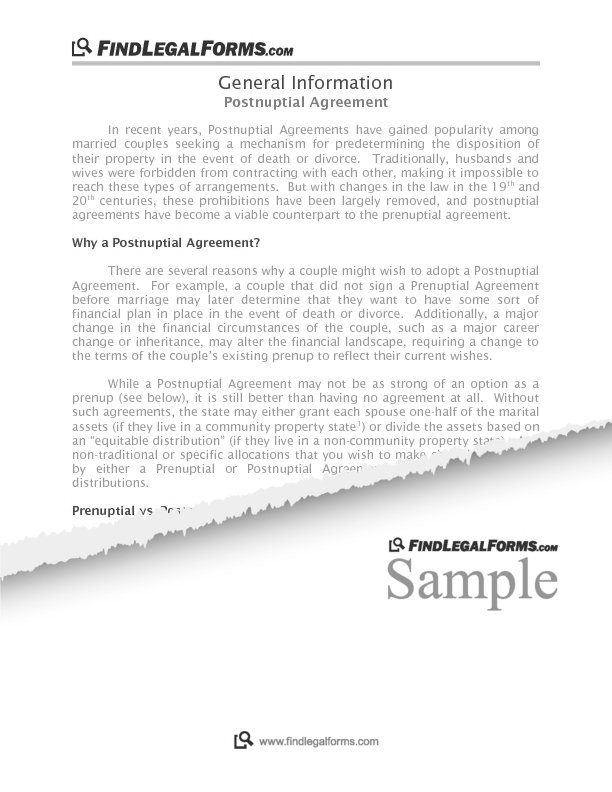 Michigan Postnuptial Agreement Sample