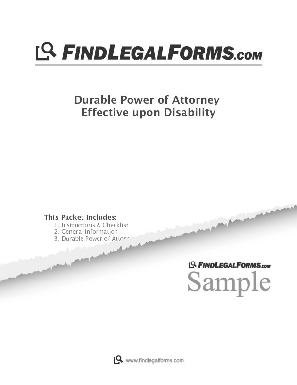 Oregon Durable Power Of Attorney Effective Upon Disability Sample