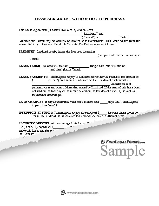 Kentucky Residential Lease Agreement With Option To Purchase Sample